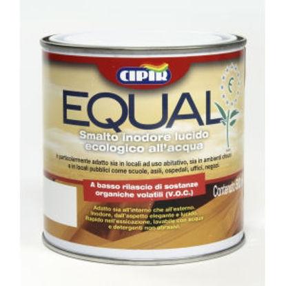 Immagine di 'equal', smalto all'acqua inodore per interni, legno e ferro, colore azzurro, 500 ml.