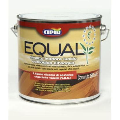 Immagine di 'equal', smalto all'acqua inodore per interni, legno e ferro, colore azzurro, 2,5 lt.