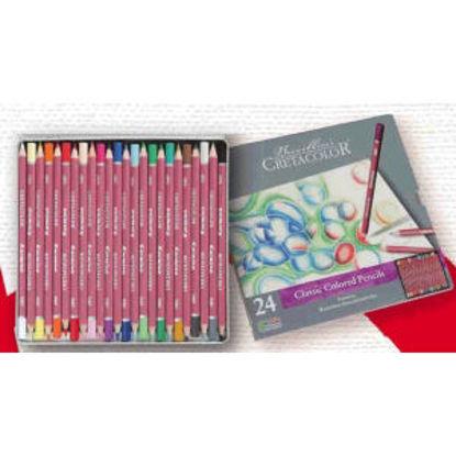 Immagine di Set 24 matite colorate assortite,  confezione in metallo