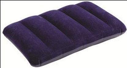 Immagine di cuscino camping floccato 43x28x9 cm, realizzato in materiale floccato nella parte superiore resistente all'acqua, pratico e confortevole, colore blu