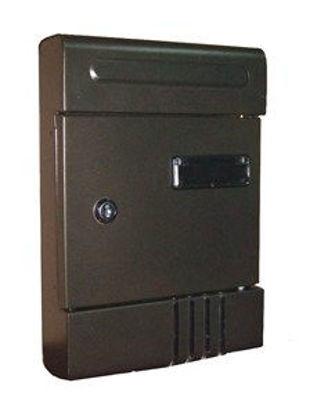 Immagine di cassetta postale in acciaio, colore bronzo, misure cm. l.20 p.7 h.29