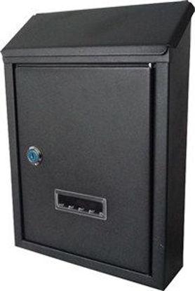 Immagine di cassetta postale in acciaio, colore grigio, misure cm. l.21,5 p.7 h.30,5