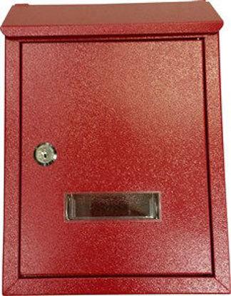Immagine di cassetta postale in acciaio, colore rosso, misure cm.l.21,5 p.7 h.30,5