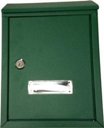 Immagine di cassetta postale in acciaio, colore verde, misure cm.l.21,5 p.7 h.30,5