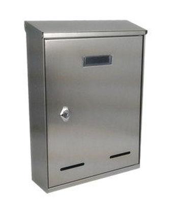 Immagine di cassetta postale in acciaio inox, misure cm. l.21 p.7 h.30