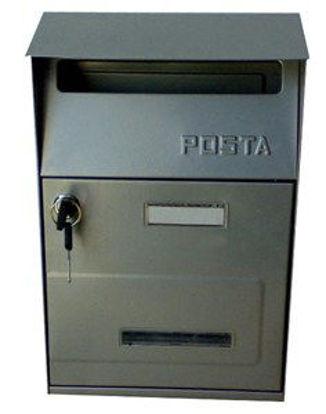 Immagine di cassetta postale in acciaio, colore grigio, misure cm. l.21,5 p.10,5 h.32