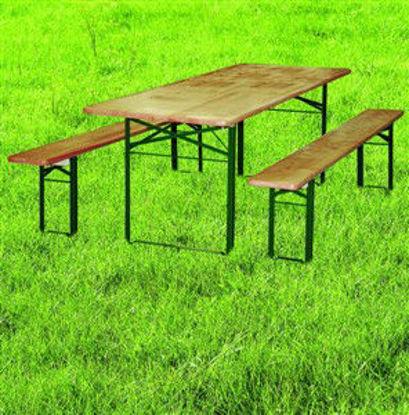 Immagine di set birreria import, composto da 1 tavolo con gambe pieghevoli dimensione cm. 220x80 h.73, 2 panche con gambe pieghevoli dimensione cm. 220x25 h.46