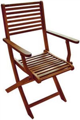 Immagine di sedia giardino in acacia, con braccioli pieghevole, dimensioni cm.53x57 h.90