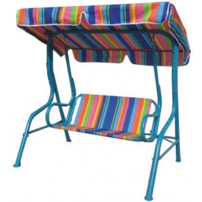 Immagine di dondolo funny per bambini, telo multicolor, parasole regolabile e piedini antisdrucciolo.