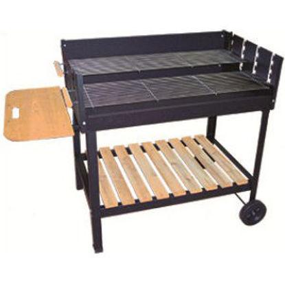 Immagine di Barbecue  a carbonella  mod. party grill big,  griglia doppia cm.88,5x24,3, piano di appoggio in legno, ruote