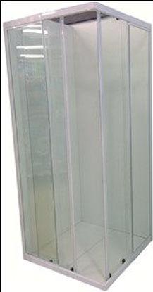 Immagine di box doccia alluminio smaltato bianco vetro trasparente spessore 4mm. misure cm. l.80 p.80 h.185