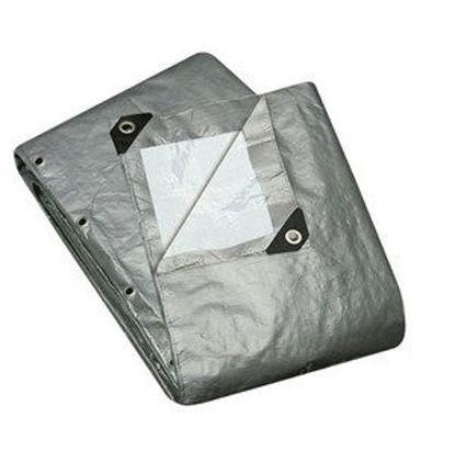 Immagine di Telo multiuso grigio occhiellato in polietilene,tipo pesante  240gr/m2 mt. 3x4