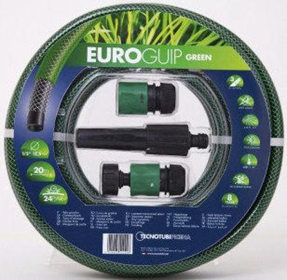 Immagine di Kit per irrigazione, tubo retinato colore nero/verde, diam.15, mt.20 con lancia a spruzzo regolabile