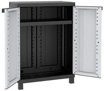 Immagine di Armadietto a 2 ante con 1 ripiano regolabile resistente alla pioggia, tempo di montaggio 10 minuti, portata del ripiano uniformemente distribuita 20kg, colore grigio-nero dimensione 68x39x91,5 cm