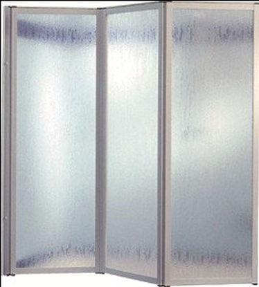 Immagine di parete vasca mercurio, composta da tre ante cm.40, struttura in alluminio colorato bianco, vetro temperato trasparente mm.4, misure cm. l.120 h.140