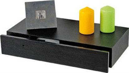Immagine di Mensola tamburata con cassetto in mdf, cm.48x25x10h. colore  wenge'  .