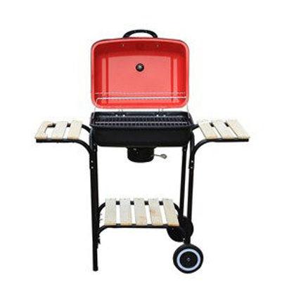 Immagine di barbecue a carbonella con 3 ripiani in legno coperchio e ruote cm.100x48x83h griglia cm.47x33 con ventola