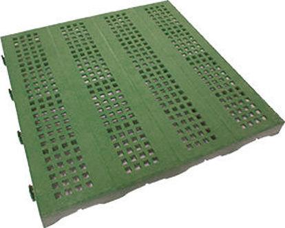 Immagine di Piastrella autobloccante in plastica rigida super resistente cm.40x40, forata verde