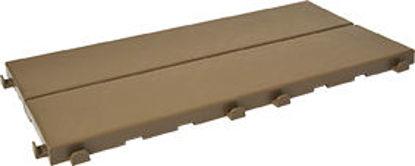 Immagine di Piastrella in plastica x esterni finitura effetto legno cm.18,6x37,7 x1,7h. color cappuccino, ideale per verande, terrazze, bordi piscine e pavimentazioni da esterno