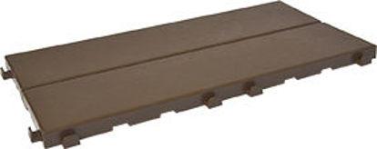 Immagine di Piastrella in plastica x esterni finitura effetto legno cm.18,6x37,7 x1,7h. color caffe', ideale per verande, terrazze, bordi piscine e pavimentazioni da esterno