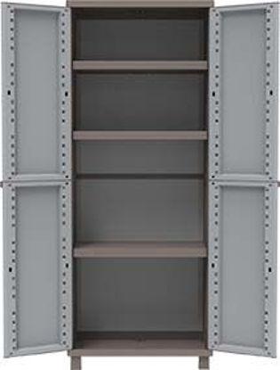 Immagine di Armadio in resina j-rattan , grigio tortora, cm. 68x37xh.170, tuttoripiani.