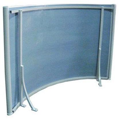Immagine di pensilina ad arco cm.140x90 con supporto in alluminio copertura in policarbonato compatto satinato