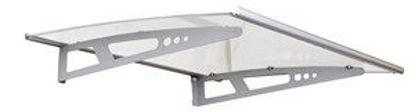 Immagine di Pensilina con due supporti in alluminio  cm. 100x140 copertura in policarbonato trasparente