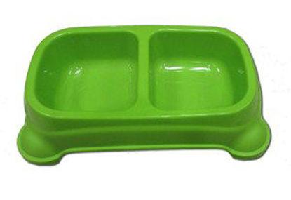 Immagine di Ciotola doppia in plastica verde 34x16x7cm