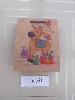 Immagine di Borsetta regalo con manici con renna 25x20x8cm