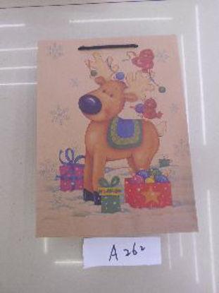 Immagine di Borsetta regalo con manici con renna 33,5x25x9cm