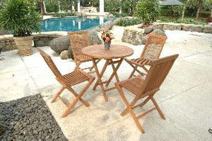 Immagine di set giardino in teak tavolo rotondo pieghevole misure cm. d.80 h.75 + 4 sedie cm.l.47 p.42 h.89