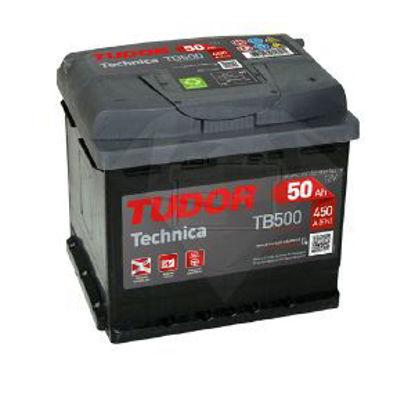 Immagine di batteria auto tudor technica tb500, tensione 12 volt capacità 50 ah spunto 450 a(en) misure mm. 207x175x190 l01 polarità dx