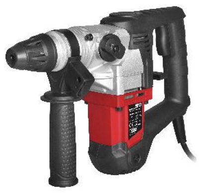 Immagine di martello perforatore, frequenza/voltaggio : 220-240v/50hz, tensione nominale d'ingresso:900w, velocità a vuoto: 880rpm, energia: 4.2j, capacità perforazione metalli: max. 13mm, legno: max. 40mm, muro: max.26mm, tre funzioni: martello, trapano, trapano con martello, in valigetta + accessori.