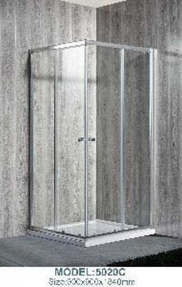 Immagine di box doccia ad angolo, vetro temperato opaco spessore mm.5, struttura profilo in alluminio lucido, maniglie in plastica, scorrimento con doppia rotellina, misure cm. 90x90 h.180