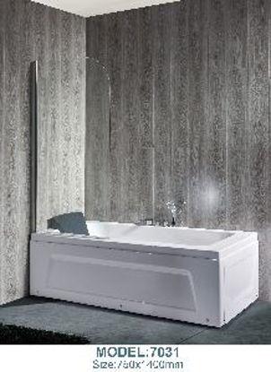 Immagine di Parete vasca singola, vetro temperato spessore mm.5, profilo in alluminio bianco, misure cm. l.75 h.130