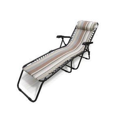 Immagine di brandina pieghevole con braccioli, cuscino poggiatesta, struttura in alluminio nero, telo textilene a righe panna/marrone, misure cm. l.132 p.63 h.95