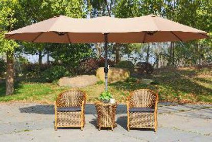 Immagine di doppio ombrellone in alluminio verniciato con ploveri epossidiche, palo centrale diametro mm.48, copertura misure cm. d.270 l.460, telo in poliestere 220 gr/mq.