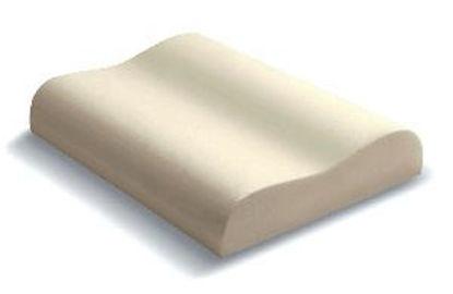 Immagine di guanciale memory foam alta densita', con doppia onda sagomata ortocervicale, rivestimento con foderina jersey/cotone lavabile, misure cm. 68x41 h.19/12