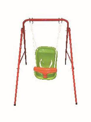 Immagine di altalena baby swing in ferro verniciato, barra laterale 15,9x0,9mm, 2 corde in pe lunghezza 160cm, seggiolino baby in plastica a iniezione per un facile montaggio, età 1836 mesi