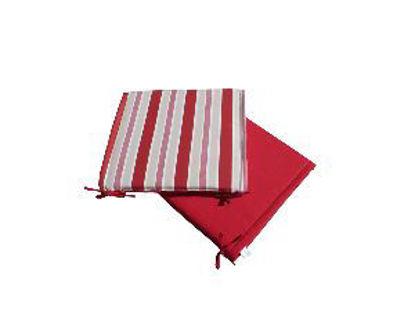 Immagine di cuscino per sedia, dimensioni cm.40x40 spessore cm.4, colore double face red/stripes red