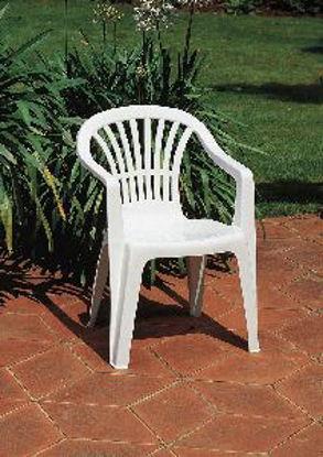 Immagine di sedia monoblocco altea, impilabile in polipropilene, schienale basso, colore bianca, dimensioni cm. 56x54 h. 80, peso kg. 2,75