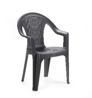 Immagine di sedia monoblocco ischia, impilabile in polipropilene, schienale basso, colore antracite effetto rattan, dimensioni cm. 54x56 h. 81, peso kg. 2,95